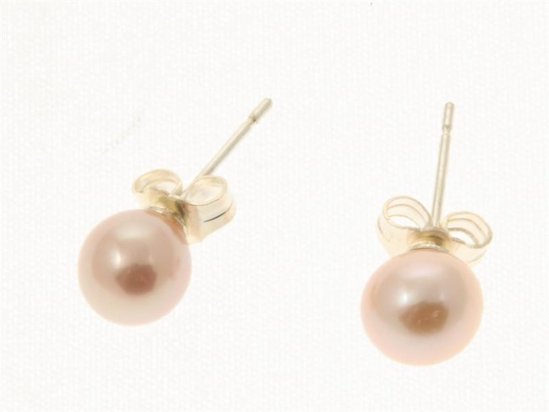 Lavender Pearl Stud Earrings