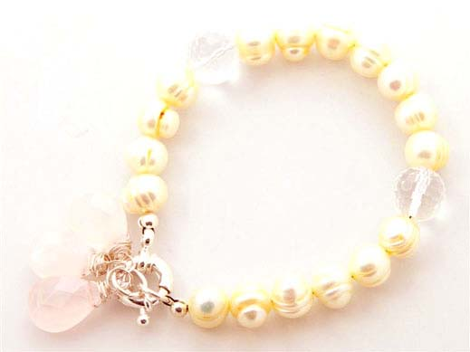 Baroque Lemon Pearl Rose Quartz Drop Bracelet
