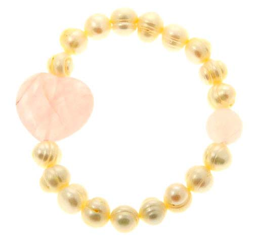 Baroque Pearl Rose Quartz Heart Bracelet