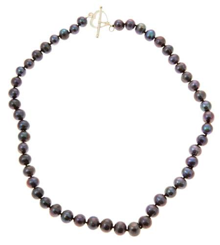 Black Freshwater Pearl Heart Clasp Necklace