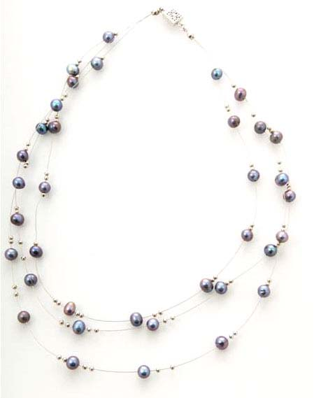Black Pearl Tin Cup Station Necklace