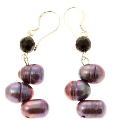 Black Rice Pearl Drop Earrings