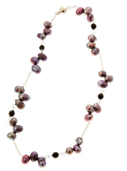 Black Rice Pearl Tin Cup Necklace
