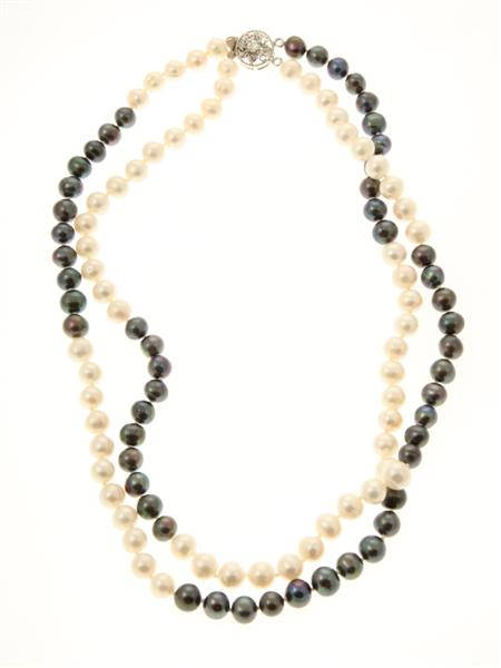Black and White Freshwater Pearl Double Strand Necklace