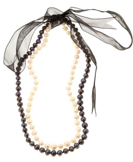Black and White Freshwater Pearl Ribbon Necklace