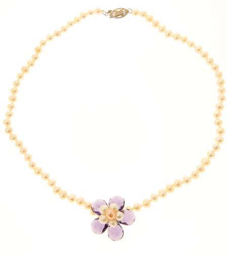 Crystal Flower White Pearl Necklace