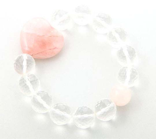 Faceted Crystal Quartz Heart Bracelet