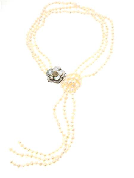 Flower Clasp Long Pearl Lariat Necklace