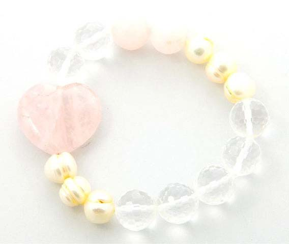 Baroque Pearl and Crystal Quartz Heart Bracelet