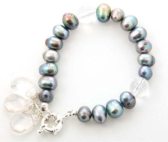 Peacock Pearl Crystal Drop Bracelet
