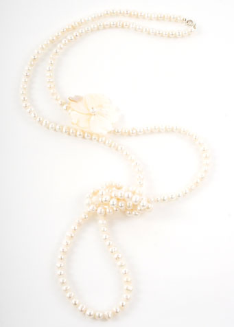 Pearl Rivershell Flower Opera Length Necklace