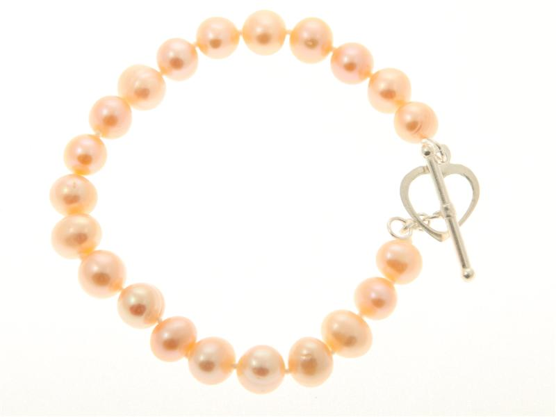 Pink Freshwater Pearl Heart Clasp Bracelet