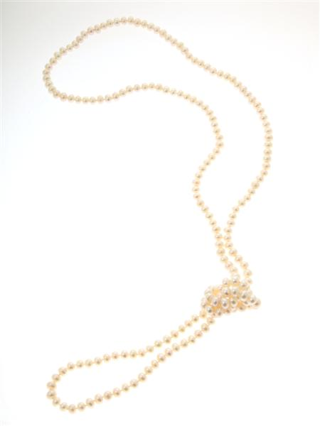 White Freshwater Button Pearl Opera Length Necklace