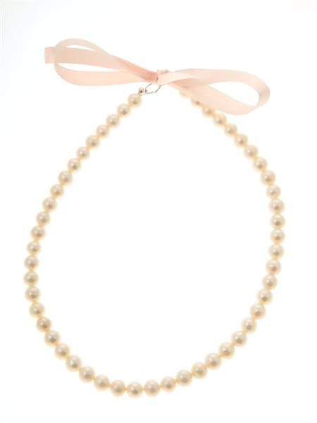 White Round Freshwater Pearl Necklace with Pink Ribbon