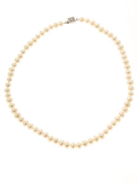 White Button Pearl Necklace