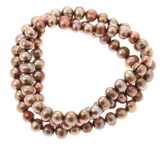 Cocoa Freshwater Pearl Triple Bracelet