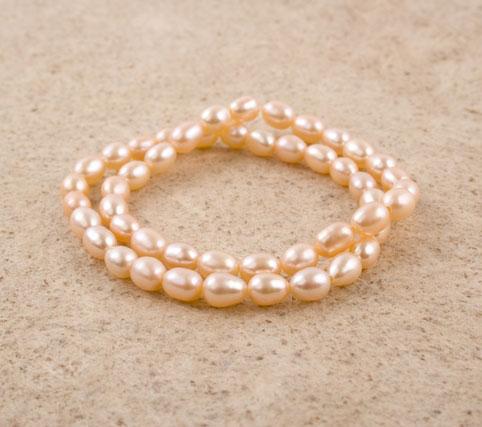 Pink Freshwater Rice Pearl Bracelet Set